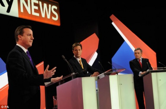 Brown, Cameron and Clegg at the Leaders Debate